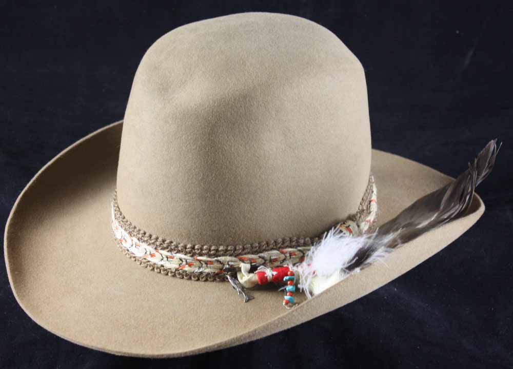 5e2ab08b505b5 Lot Detail - Iron Eyes Cody s Custom Designed 80th Birthday Stetson Hat