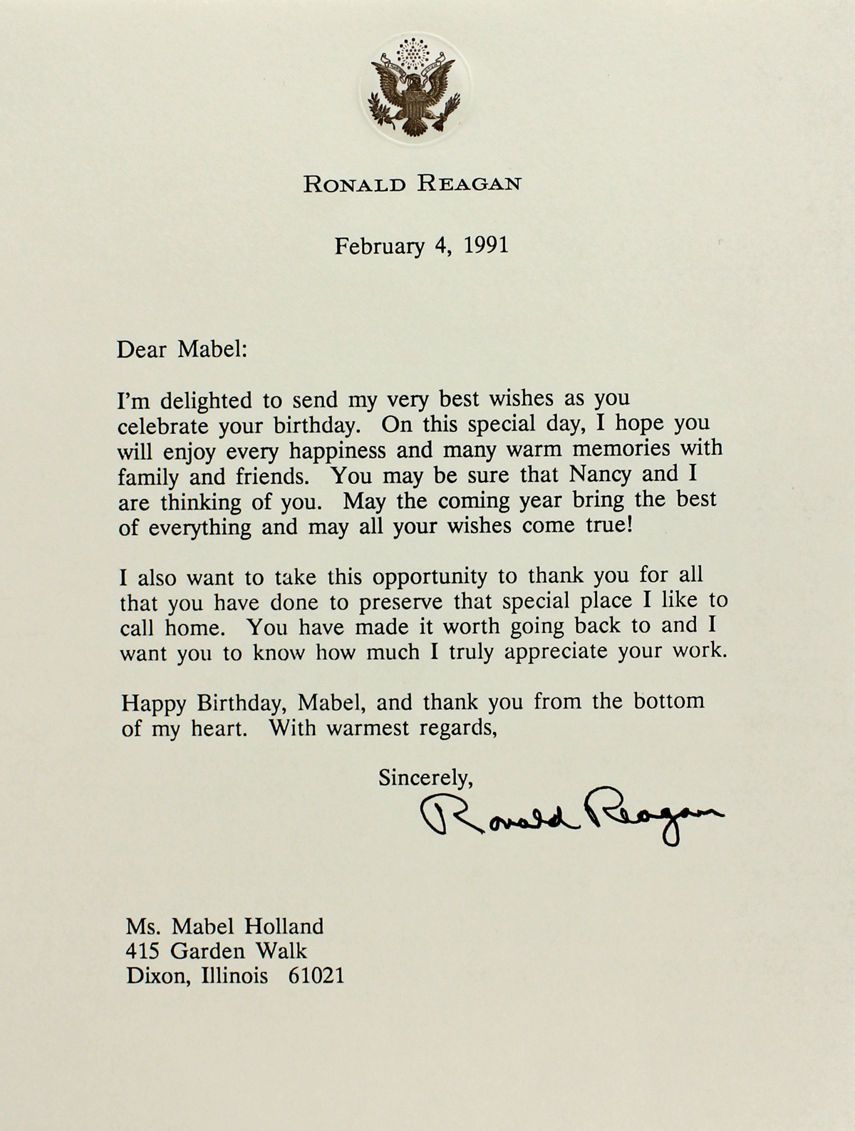 Lot Detail Ronald Reagan Typed Signed Letter on Personal – Personal Letterhead