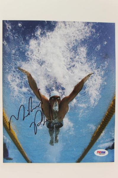 MICHAEL PHELPS USA OLYMPICS SWIMMING SIGNED AUTHENTIC 8X10 PHOTO PSA/DNA