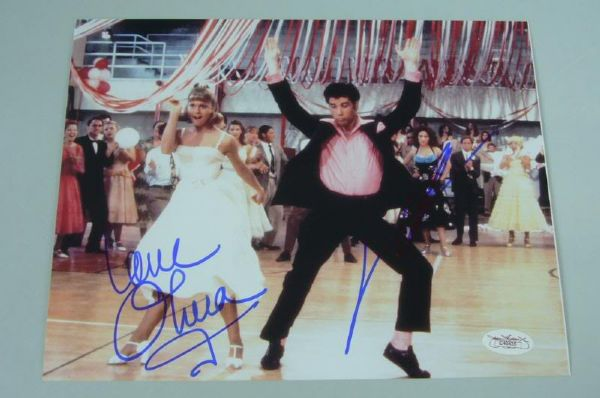 NEWTON JOHN TRAVOLTA GREASE SIGNED AUTH 8X10 PHOTO