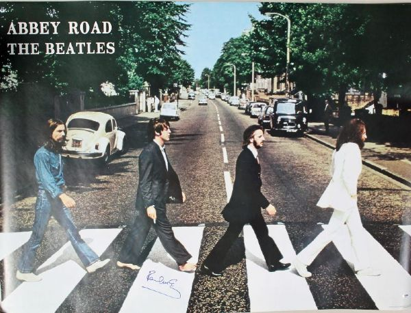 PAUL MCCARTNEY THE BEATLES ABBEY ROAD AUTHENTIC SIGNED 39X53 POSTER PSA #Q02611
