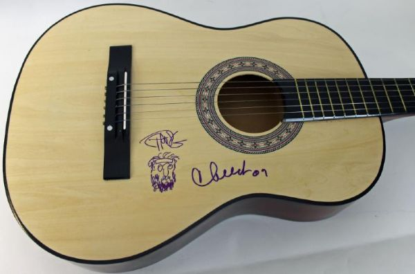 CHEECH MARIN & TOMMY CHONG AUTHENTIC SIGNED GUITAR W/ SKETCH PSA/DNA #Q45715