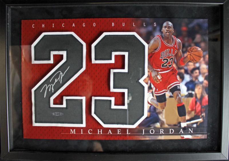 lot detail michael jordan signed jersey number in custom framed display uda. Black Bedroom Furniture Sets. Home Design Ideas