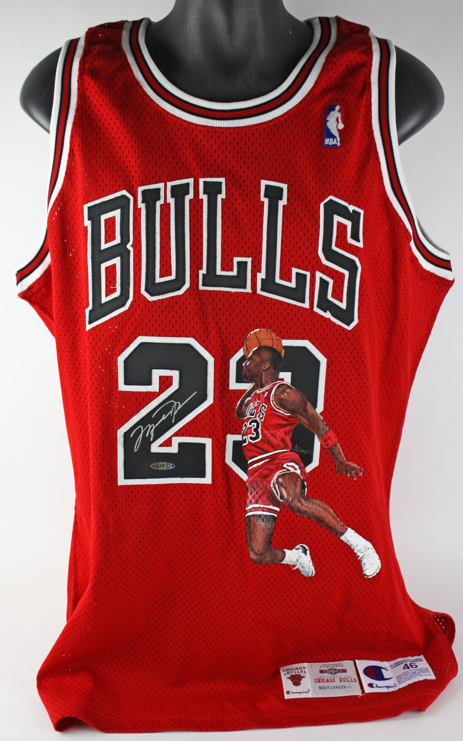 fb90bbe260f Michael Jordan Signed Chicago Bulls Pro Cut Jersey with One-of-a-Kind ...