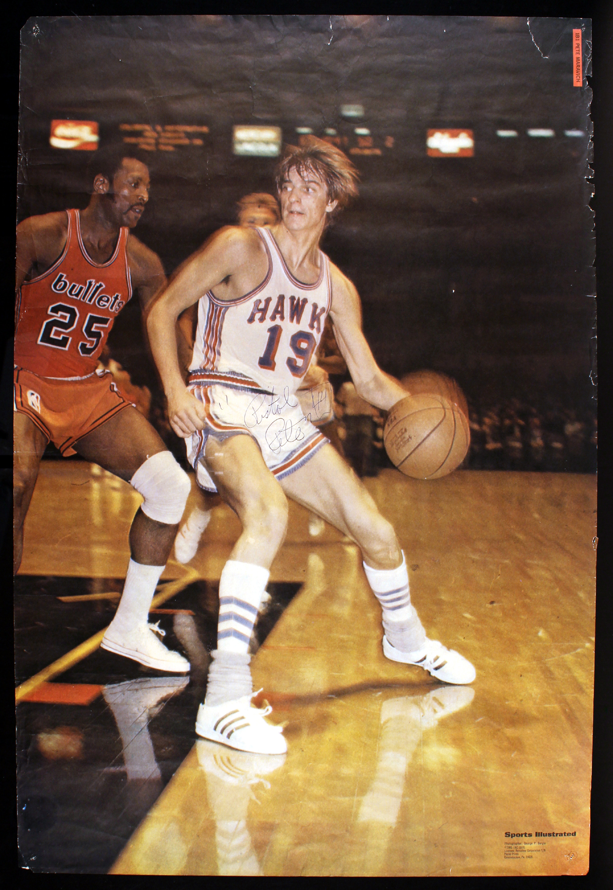 "Lot Detail Pistol Pete Maravich Rare Signed 23"" x 35"" Sports"