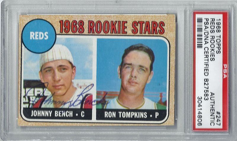 Lot Detail Johnny Bench Signed 1968 Topps Rookie Card Psa Dna Encapsulated