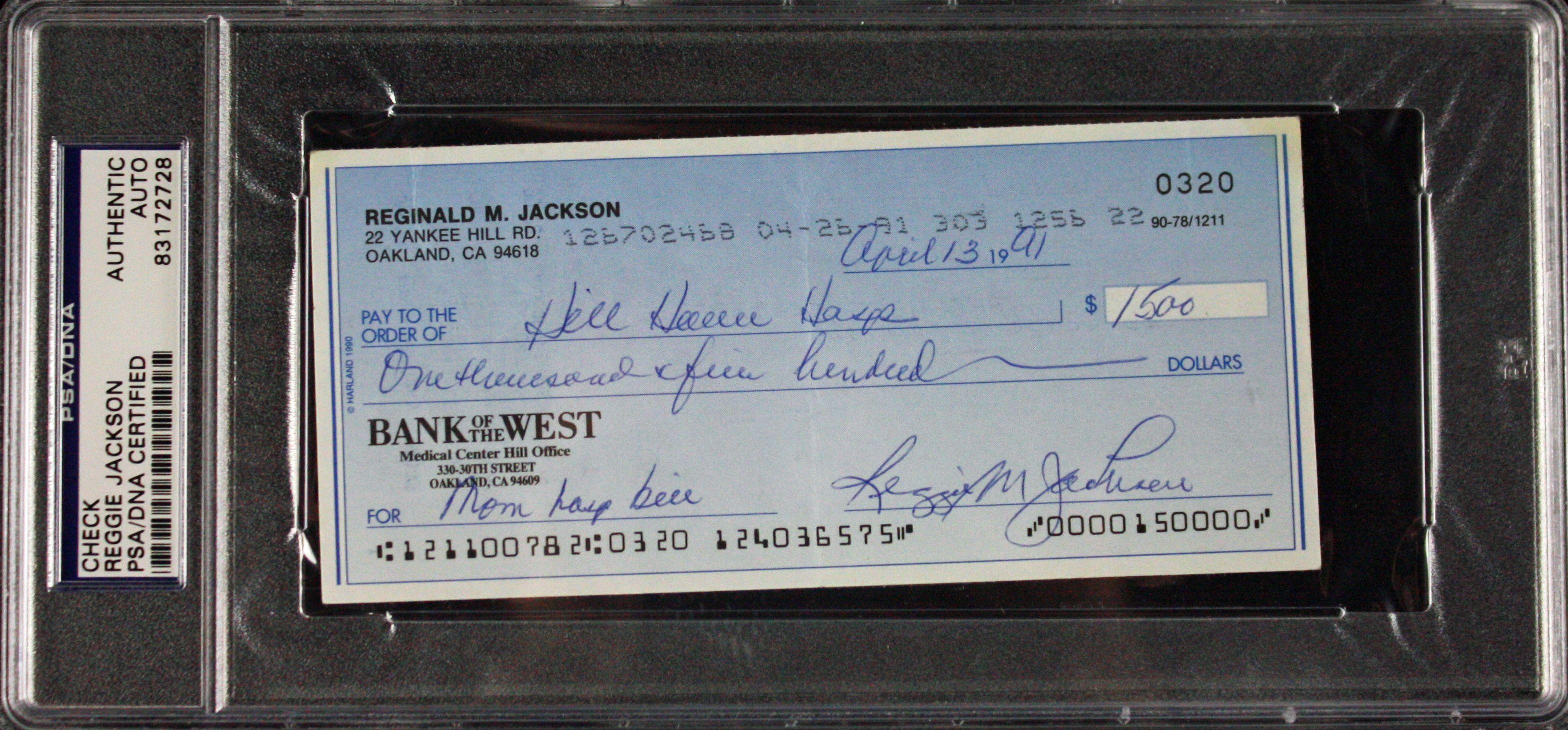lot detail reggie jackson signed bank check psa dna encapsulated. Black Bedroom Furniture Sets. Home Design Ideas