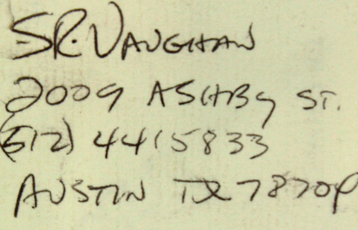 Lot Detail - Stevie Ray Vaughn Signed Business Card with Handwritten ...