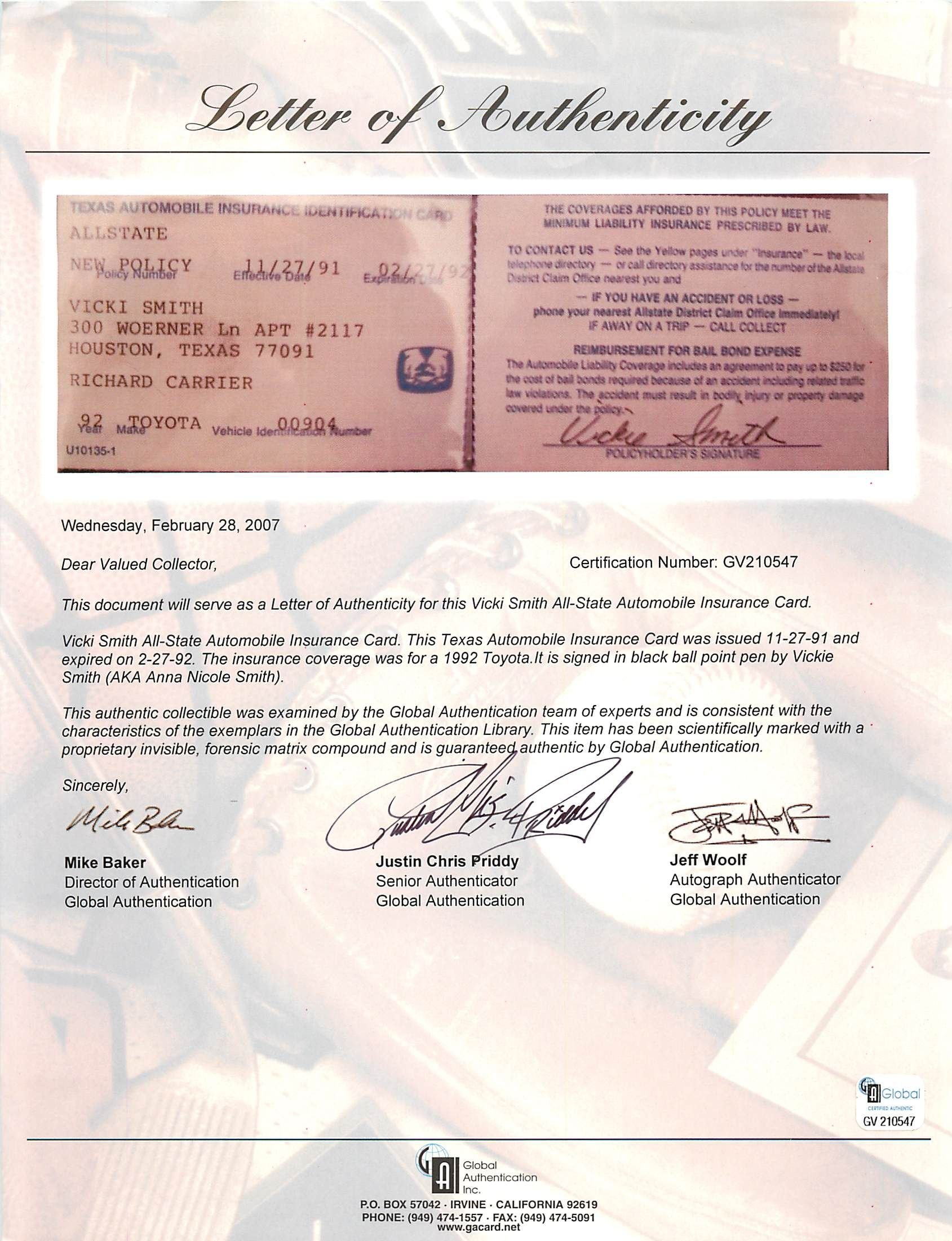Lot detail anna nicole smith personally signed used auto anna nicole smith personally signed used auto insurance card wvickie smith signature xflitez Image collections