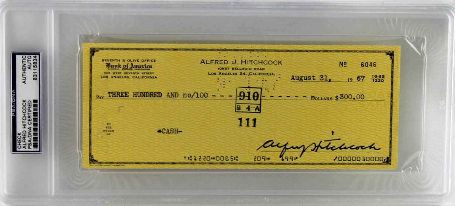 lot detail alfred hitchcock rare signed personal bank check 1967 psa dna encapsulated. Black Bedroom Furniture Sets. Home Design Ideas