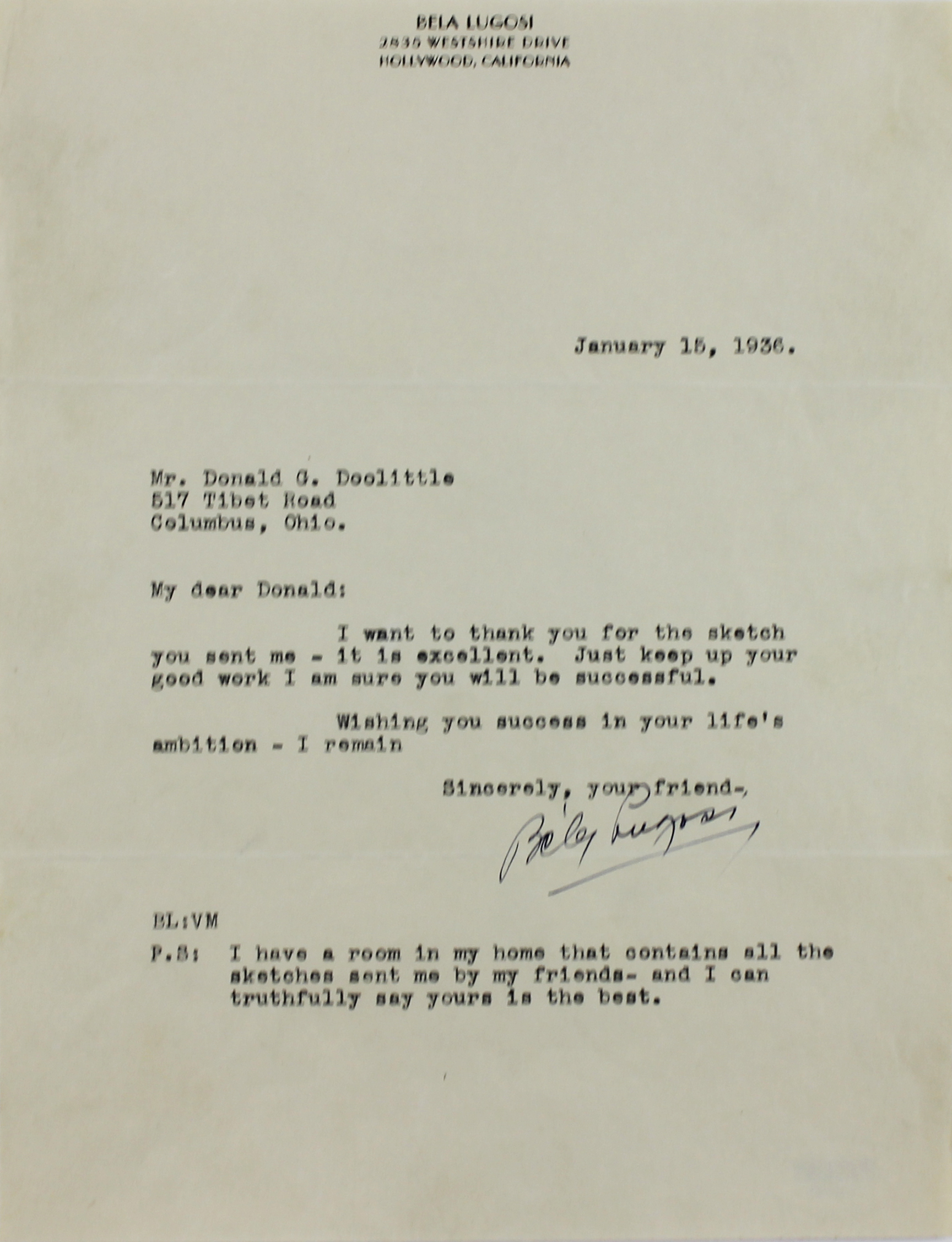 Lot Detail Bela Lugosi Signed Typed Letter on Personal – Personal Letterhead