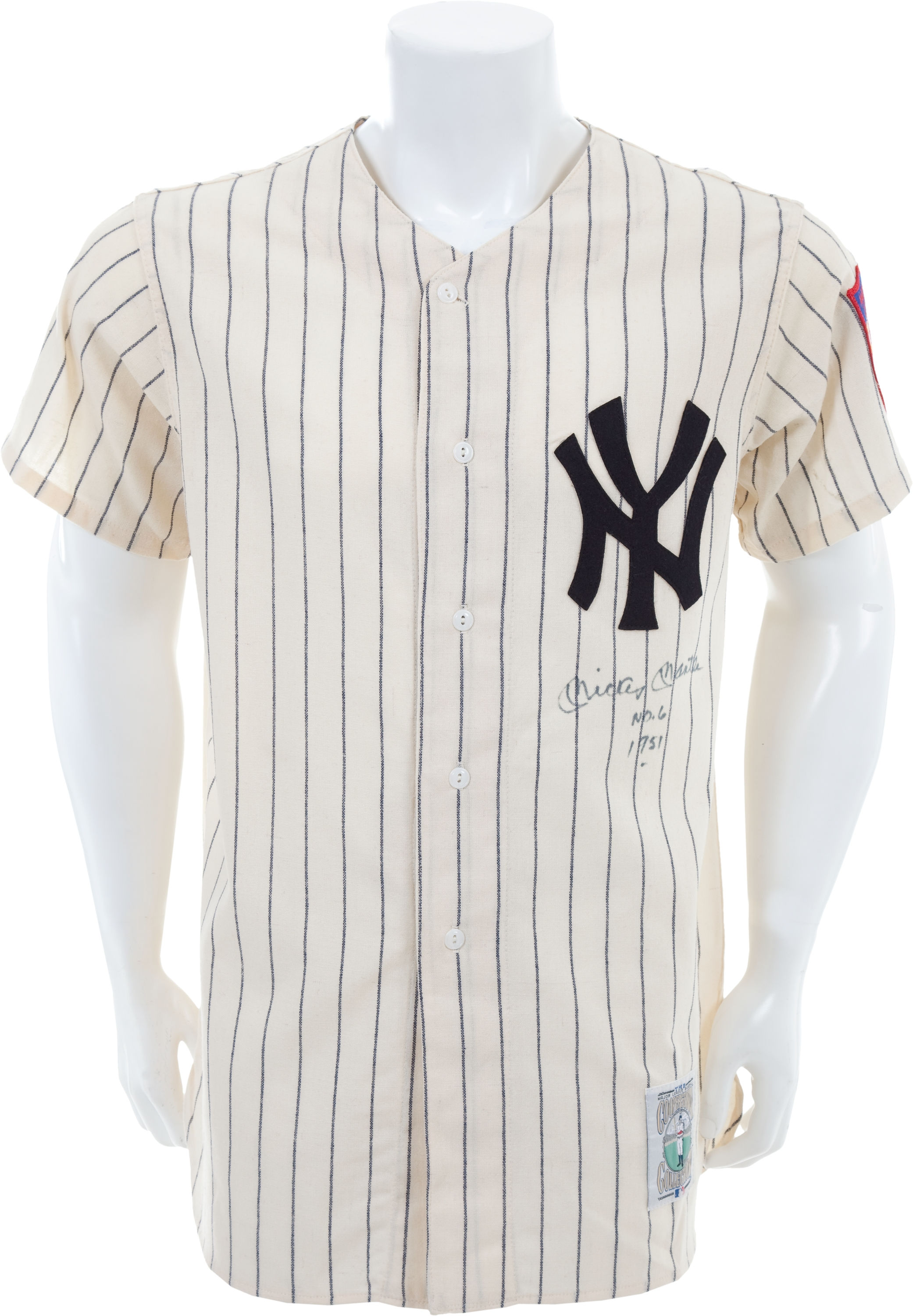 Mickey Mantle Signed 1951 Style Mitchell   Ness  6 Rookie Era Jersey with  RARE No ... d1dd8422542