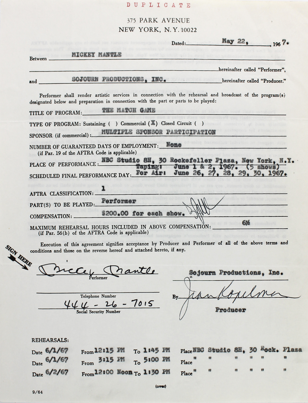 Lot detail mickey mantle rare signed 1967 tv appearance agreement mickey mantle rare signed 1967 tv appearance agreement for nbcs the match game psa platinumwayz