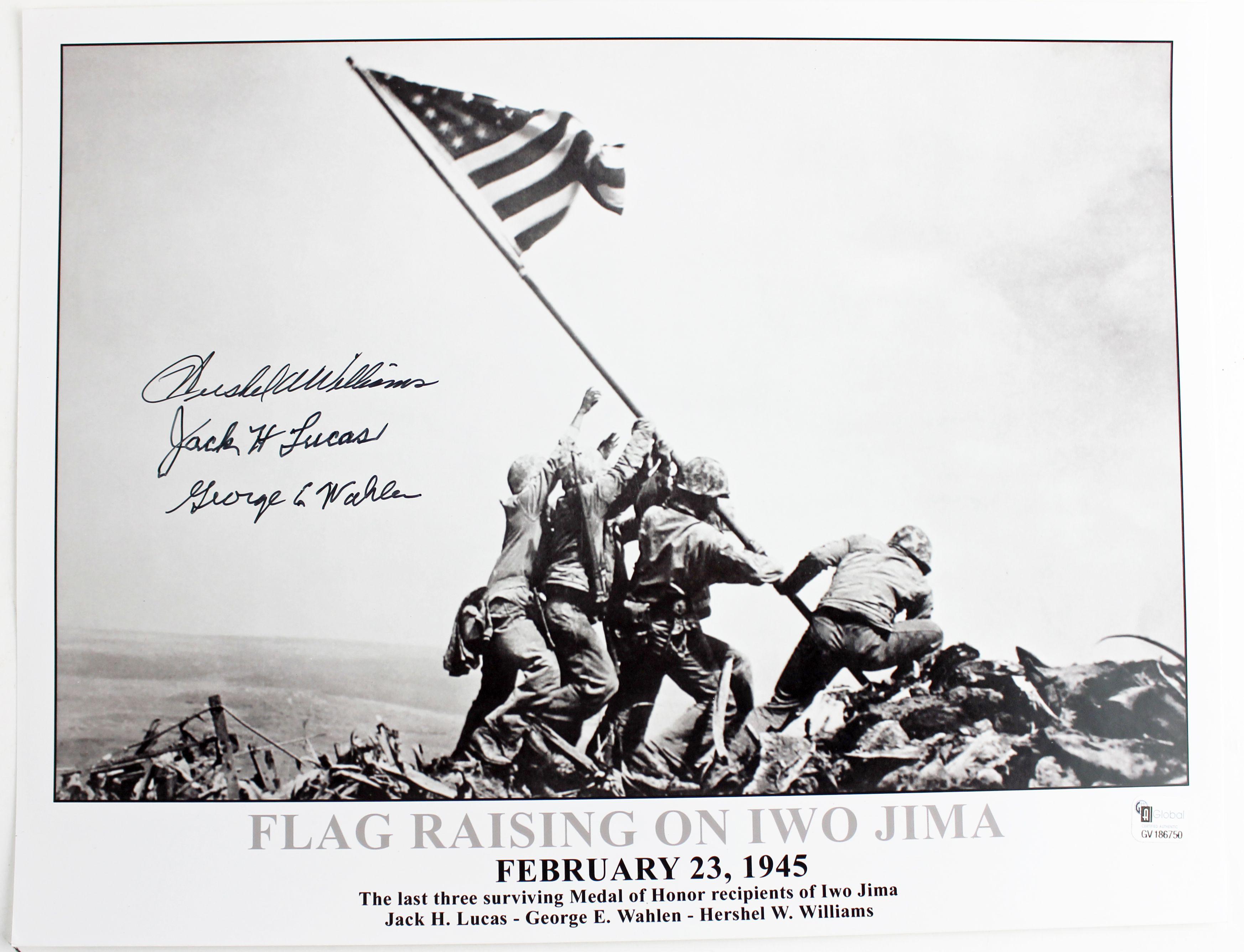 World War II: Iwo Jima Flag Raising Signed 11 x 14 Photo (3 Sigs