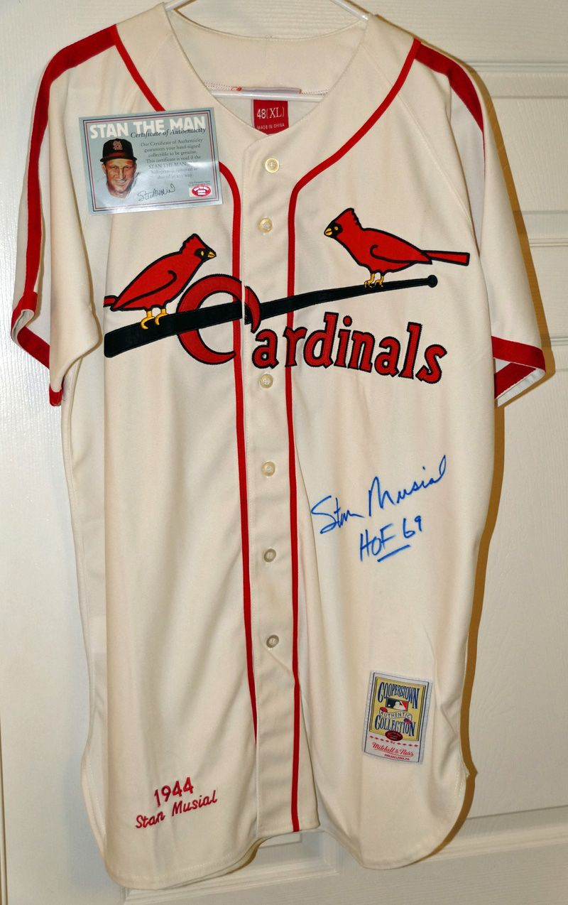 official photos e566d 97292 Lot Detail - Stan Musial Signed Mitchell & Ness 1944 St ...