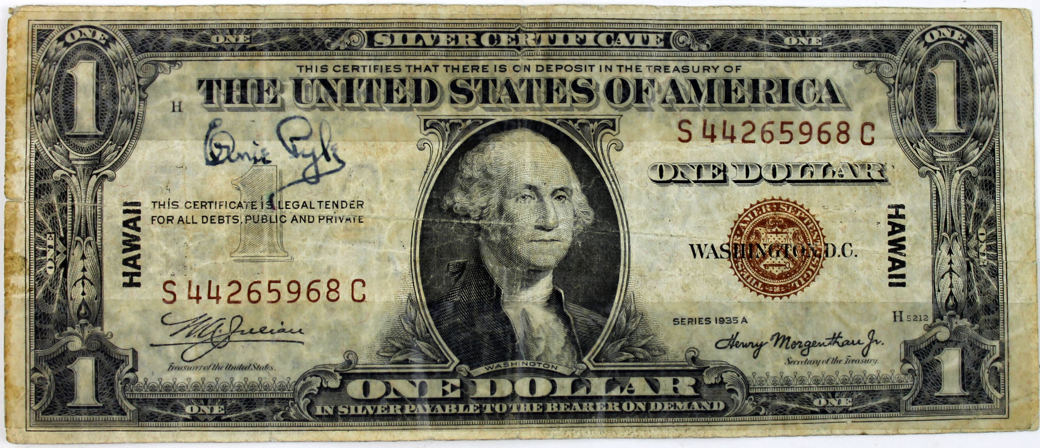 Lot detail ernie pyle signed 1935 hawaiian 1 silver certificate ernie pyle signed 1935 hawaiian 1 silver certificate psadna 1betcityfo Images