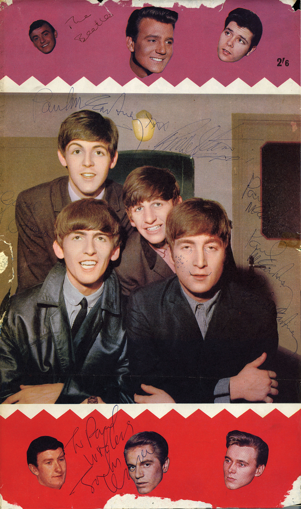 The Beatles Vintage Signed 20 X 12 Color Poster Four Times By Paul McCartney