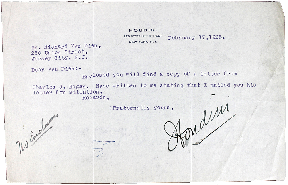 Lot Detail - Harry Houdini Signed Typewritten Letter From 1925 On