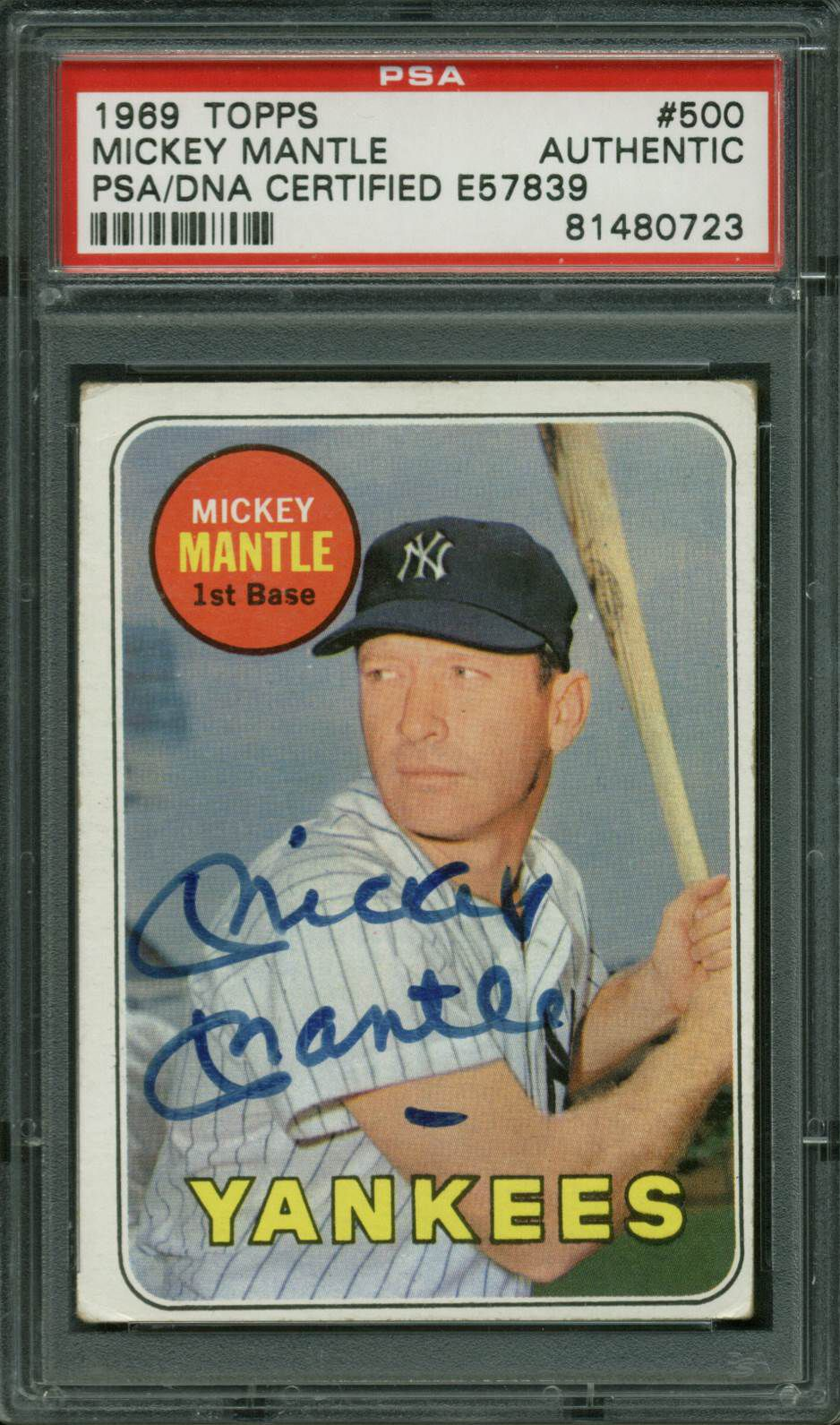 Lot Detail 1969 Topps Signed Mickey Mantle Baseball Card