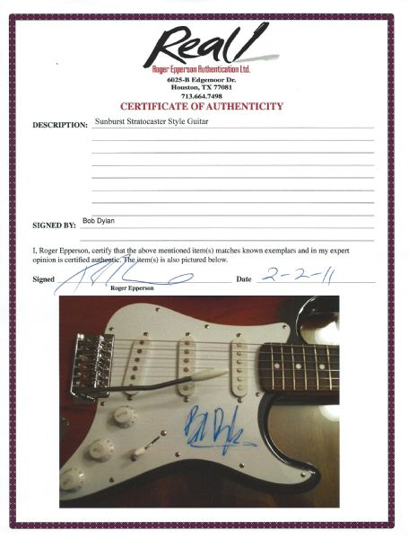Bob Dylan Ultra Rare Signed Fender Stratocaster Electric Guitar (Epperson/REAL)