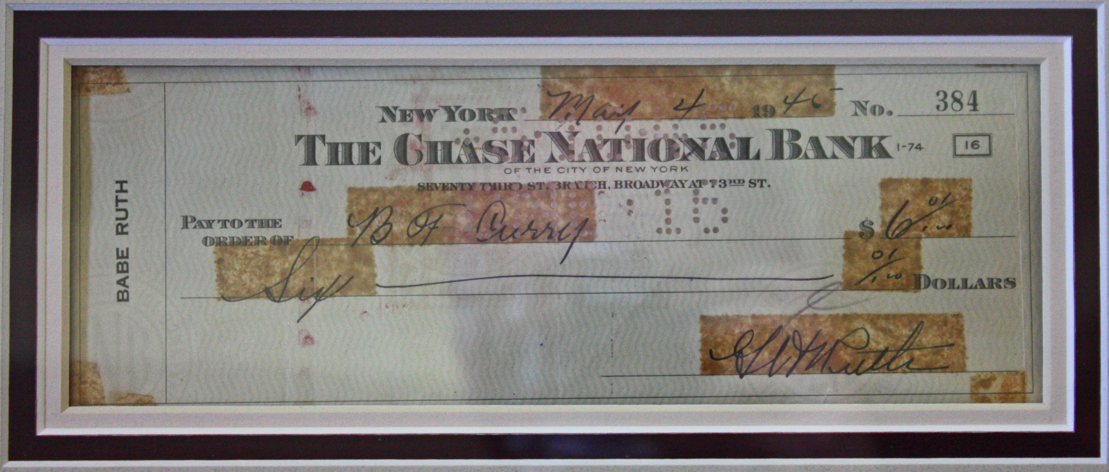 lot detail babe ruth handwritten signed personal bank check psa dna. Black Bedroom Furniture Sets. Home Design Ideas