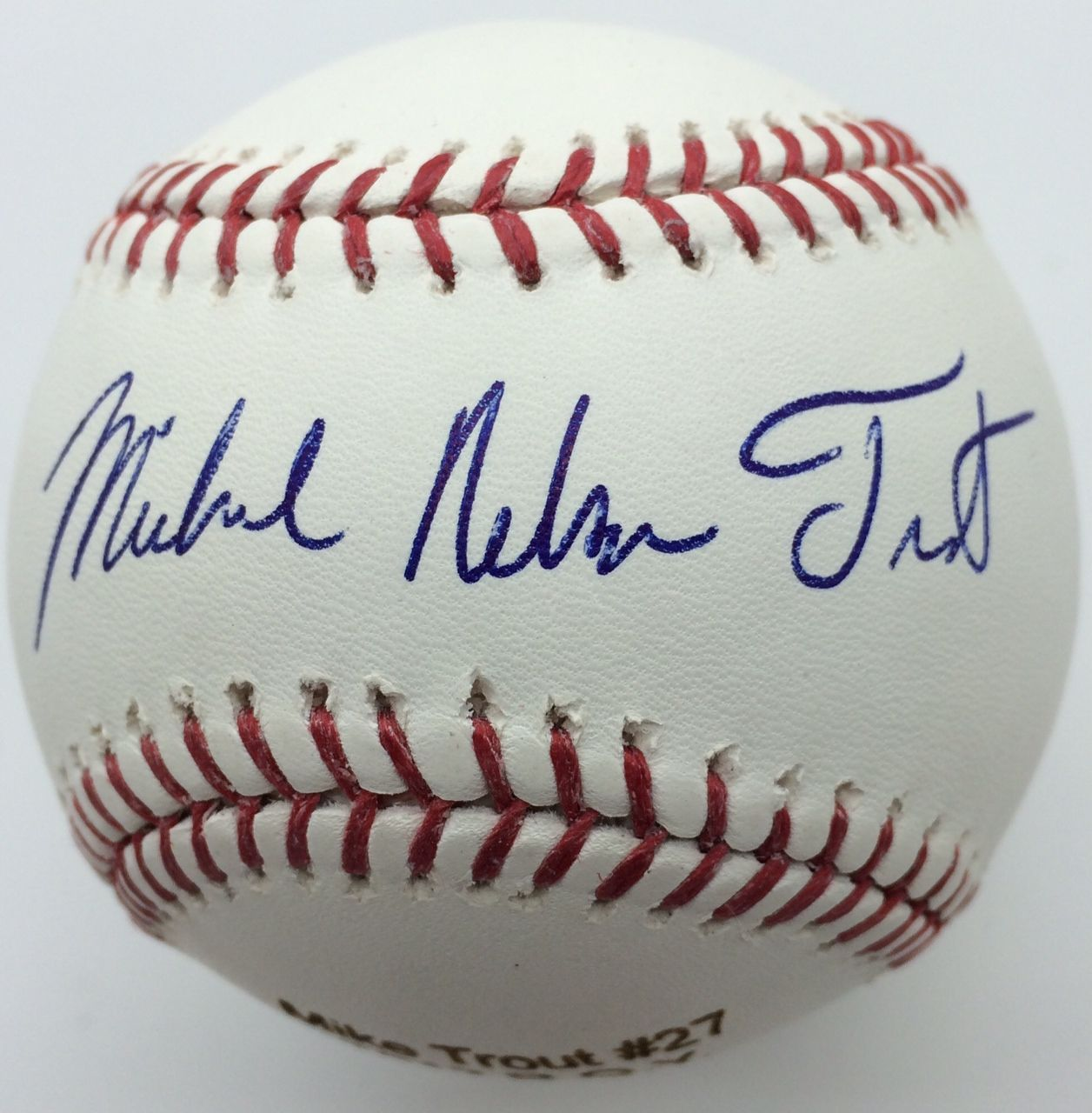 9ca059914b7 Mike Trout Signed OML Angels 50th Anniversary Commemorative Baseball with  Rare Michael Nelson Trout Autograph ...
