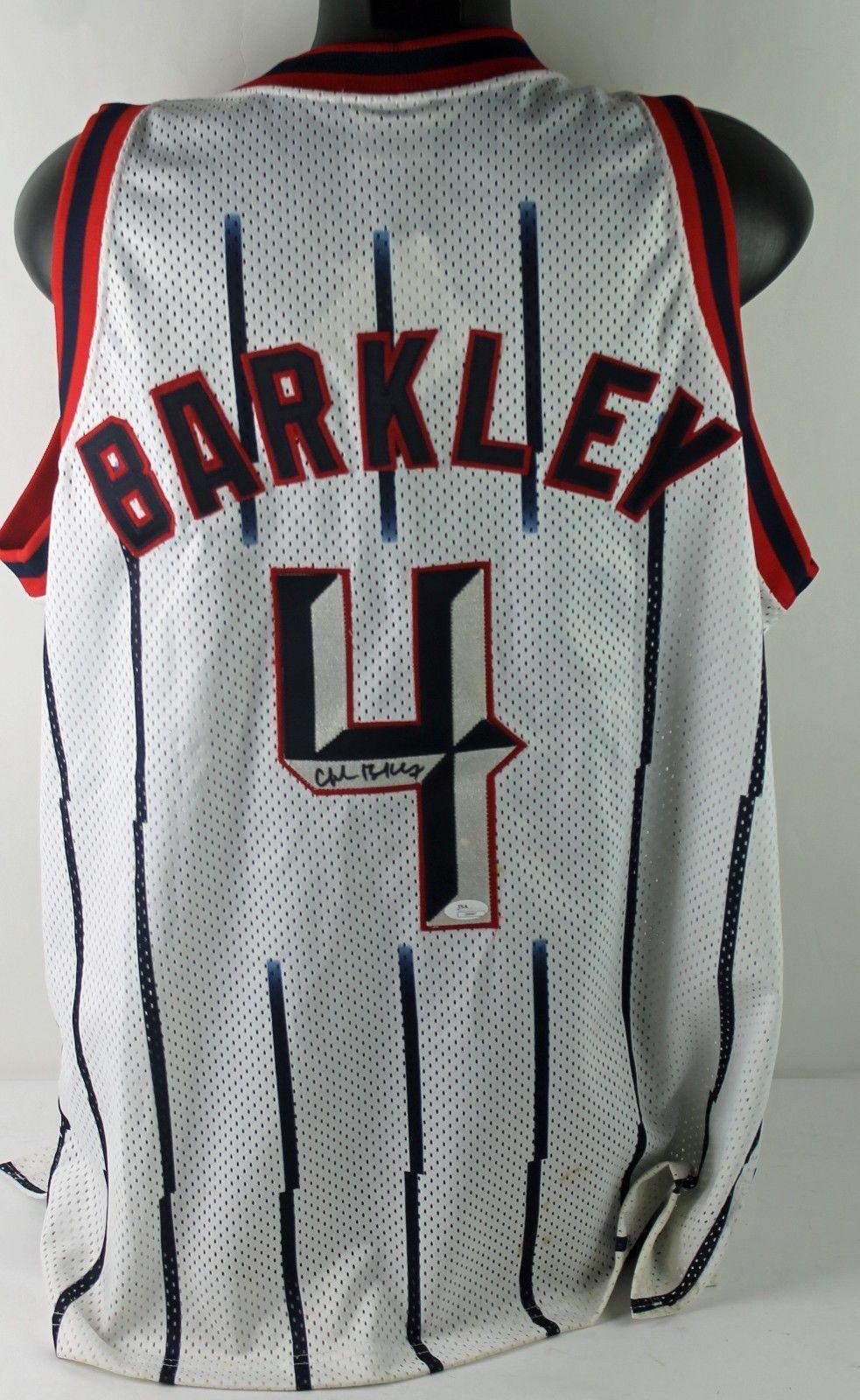 e51c4602c Lot Detail - Charles Barkley Signed Pro-Style Rockets Jersey (JSA)