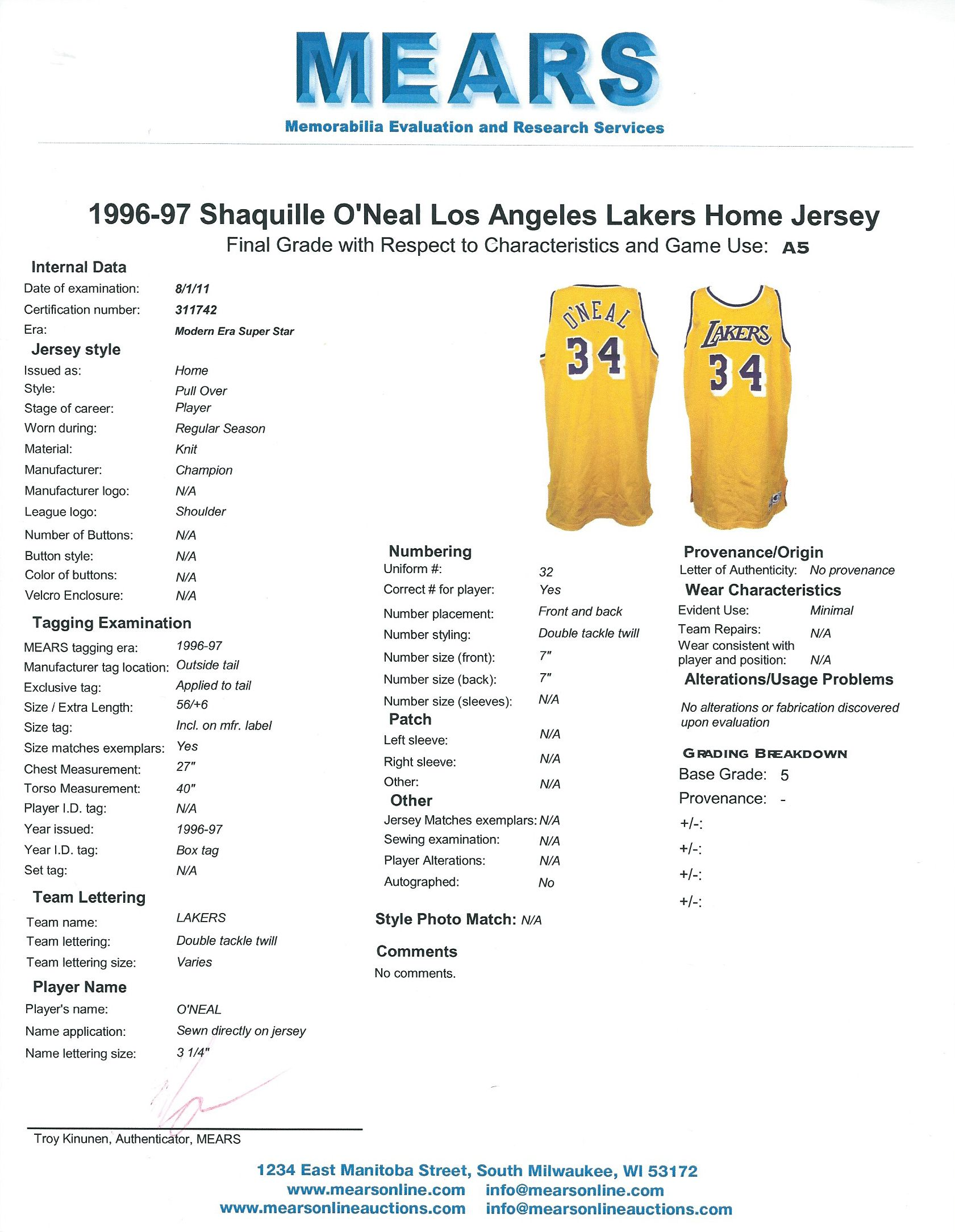 7b34c75fa ... 1996-97 Shaquille O Neal Game Worn L.A. Lakers Home Jersey (MEARS)