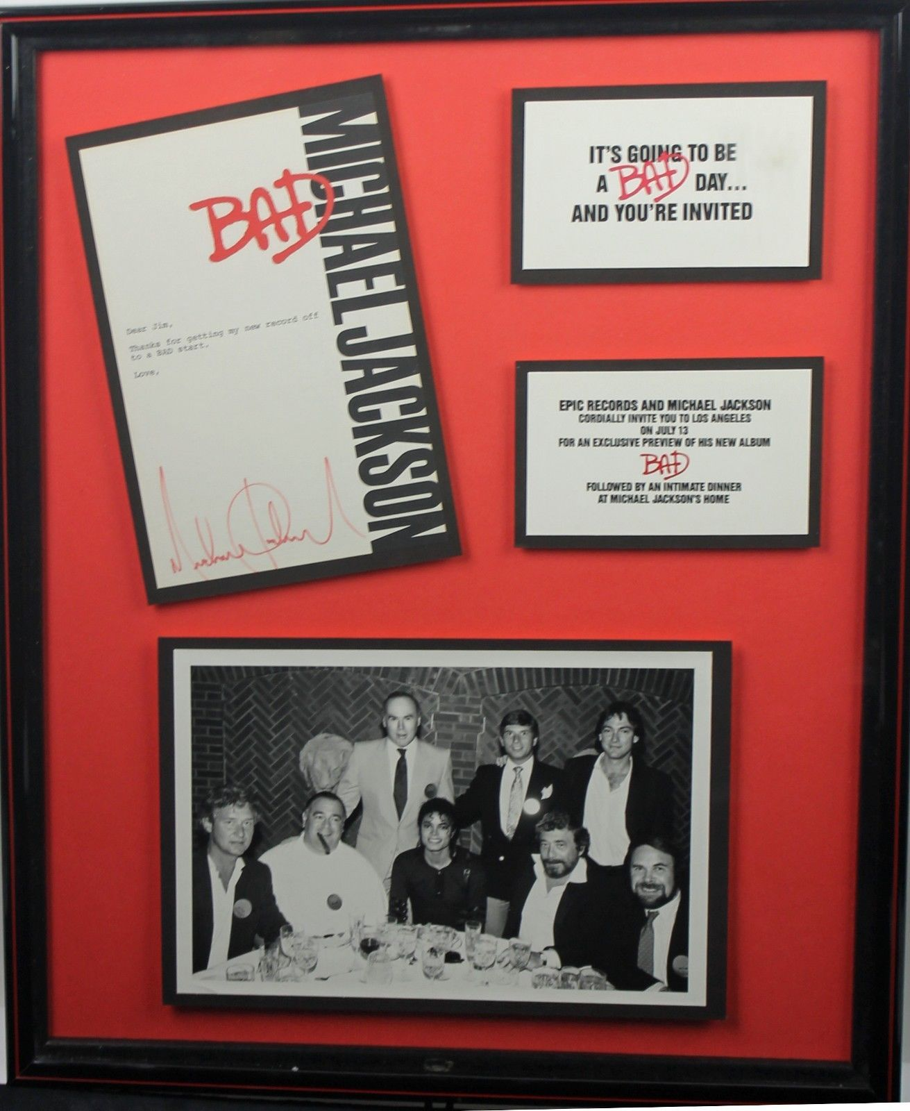 Lot Detail - Ultra-Rare Michael Jackson Signed & Framed BAD Letter ...