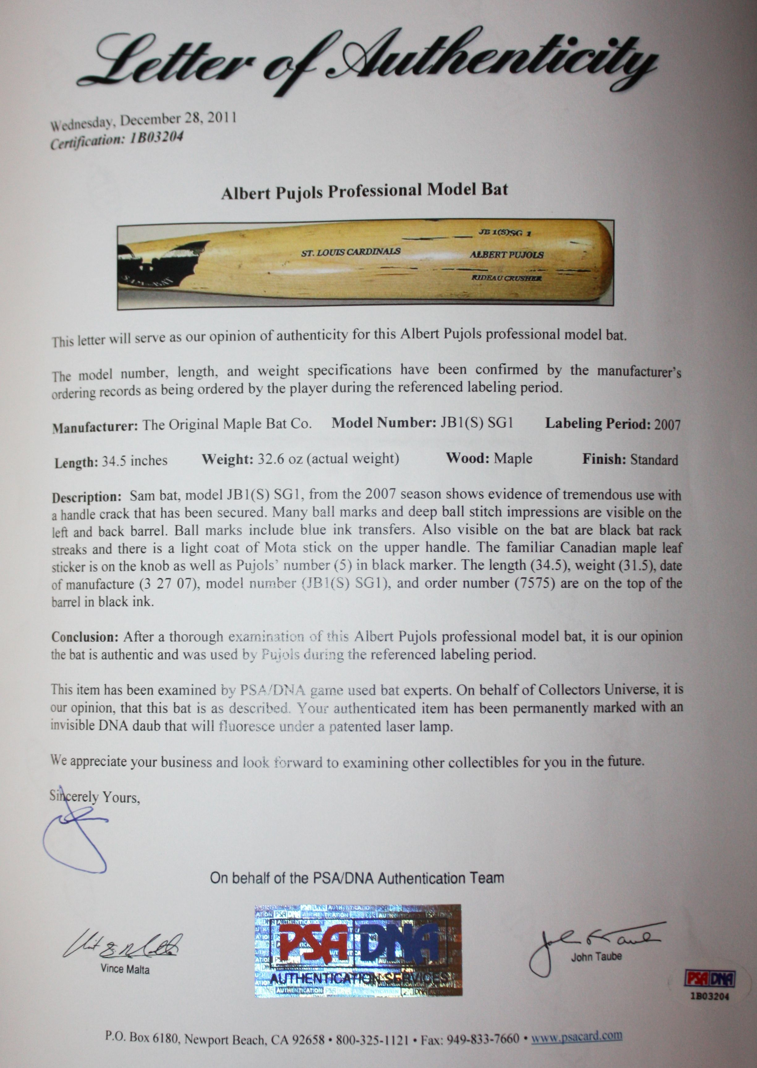 Lot Detail - 2007 Albert Pujols Game Used Sam Bat Personal ...
