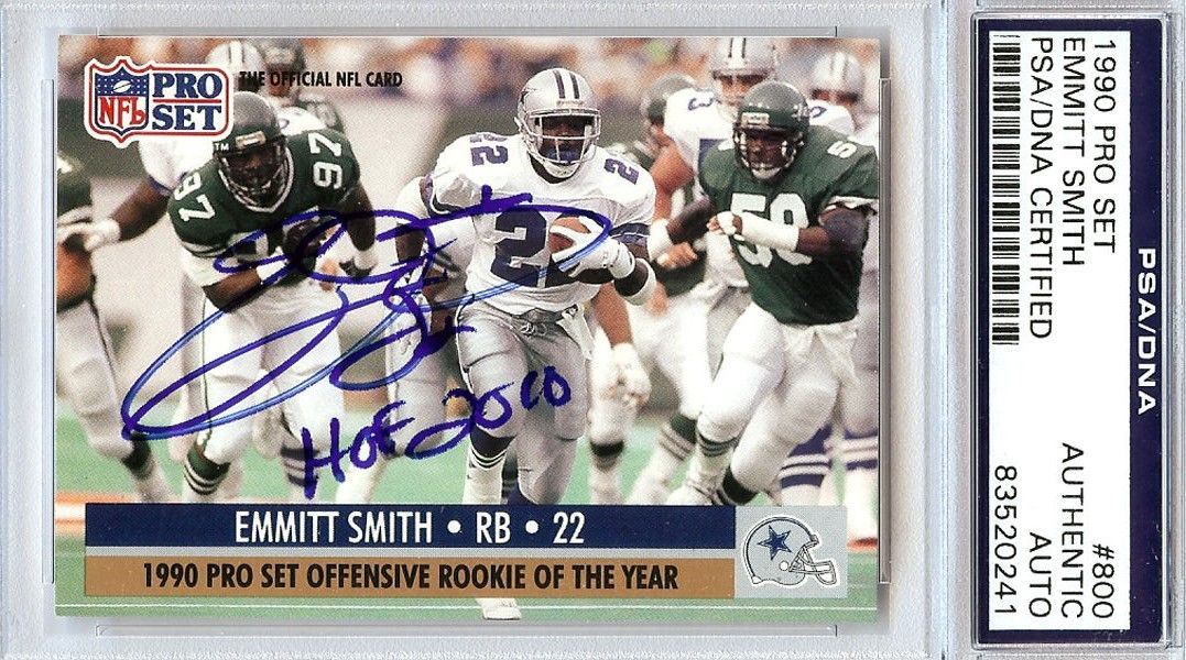 Lot Detail Emmitt Smith Rare Signed 1990 Pro Set Rookie Card W