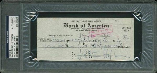 lot detail katherine hepburn signed 1957 bank check psa dna encapsulated. Black Bedroom Furniture Sets. Home Design Ideas