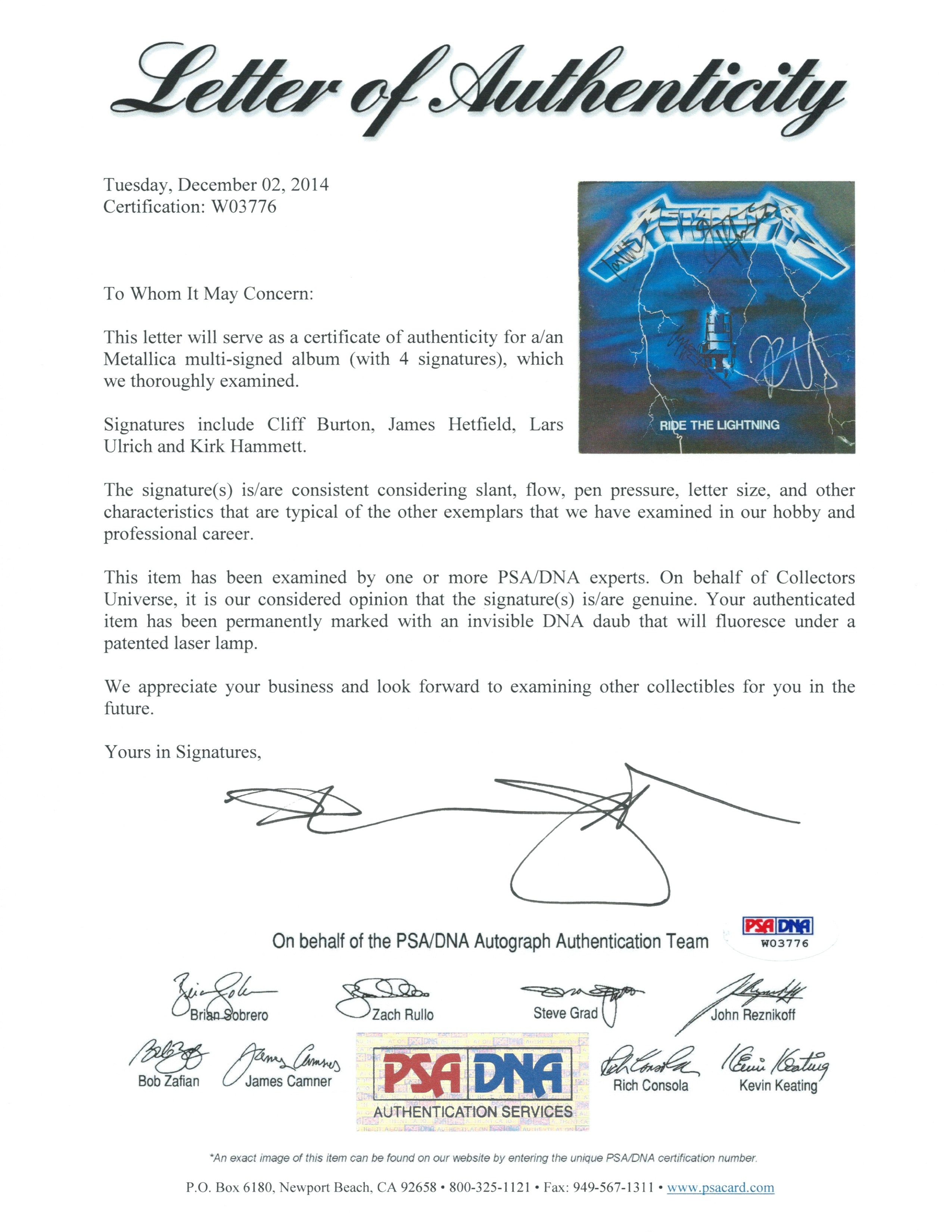 (psa/ � metallica group signed ride the lightning record album cover with  cliff burton! (psa/