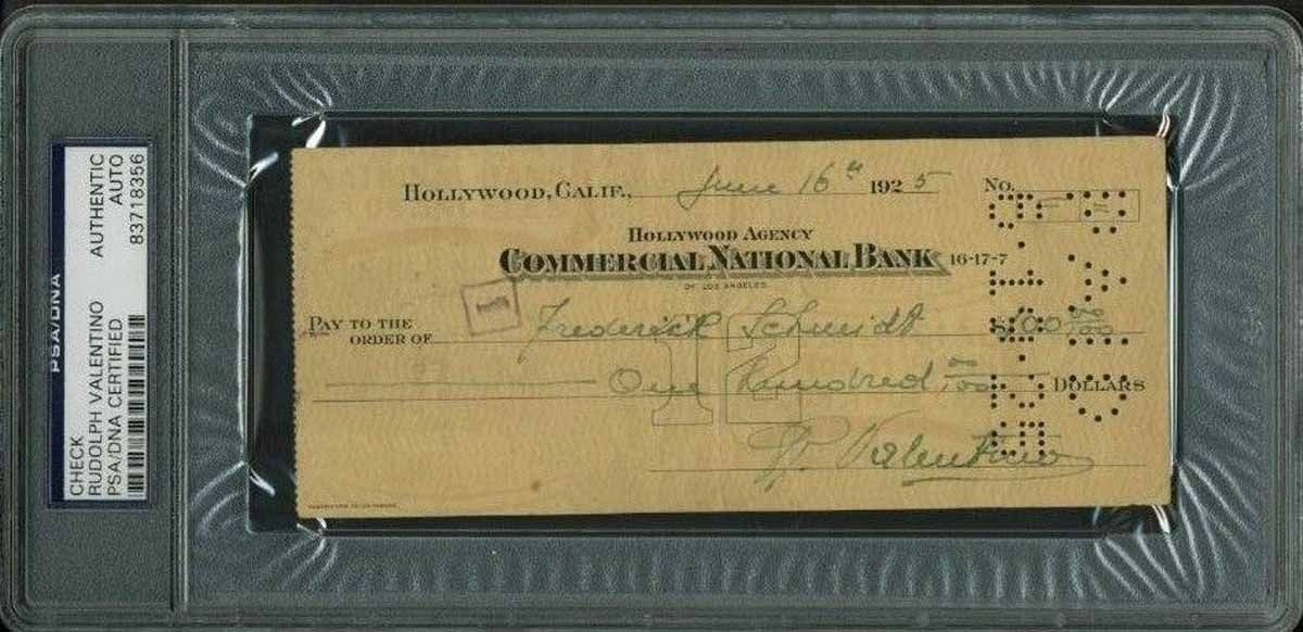 lot detail rudolph valentino signed handwritten 1925 bank check psa dna. Black Bedroom Furniture Sets. Home Design Ideas
