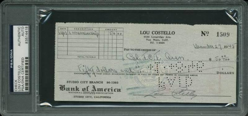 lot detail lou costello signed personal bank check 1945 psa dna encapsulated. Black Bedroom Furniture Sets. Home Design Ideas