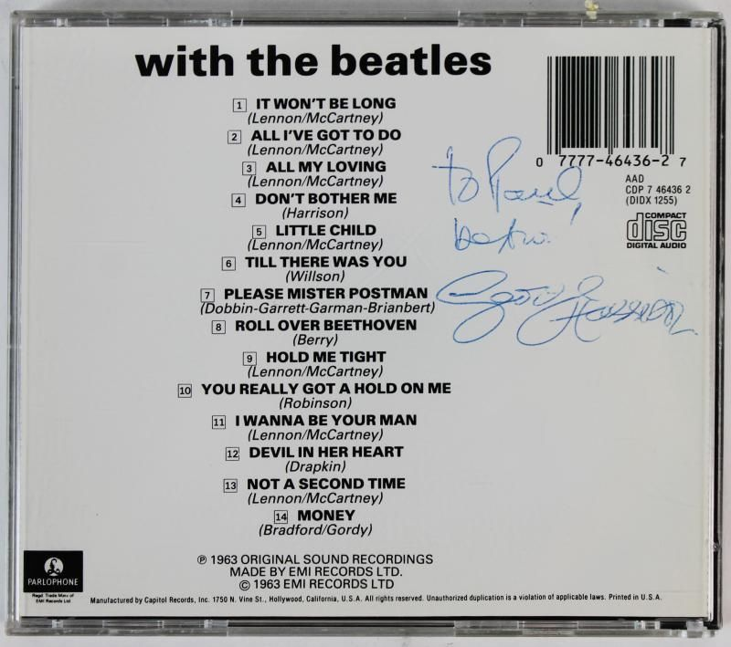 lot detail the beatles george harrison signed with the beatles