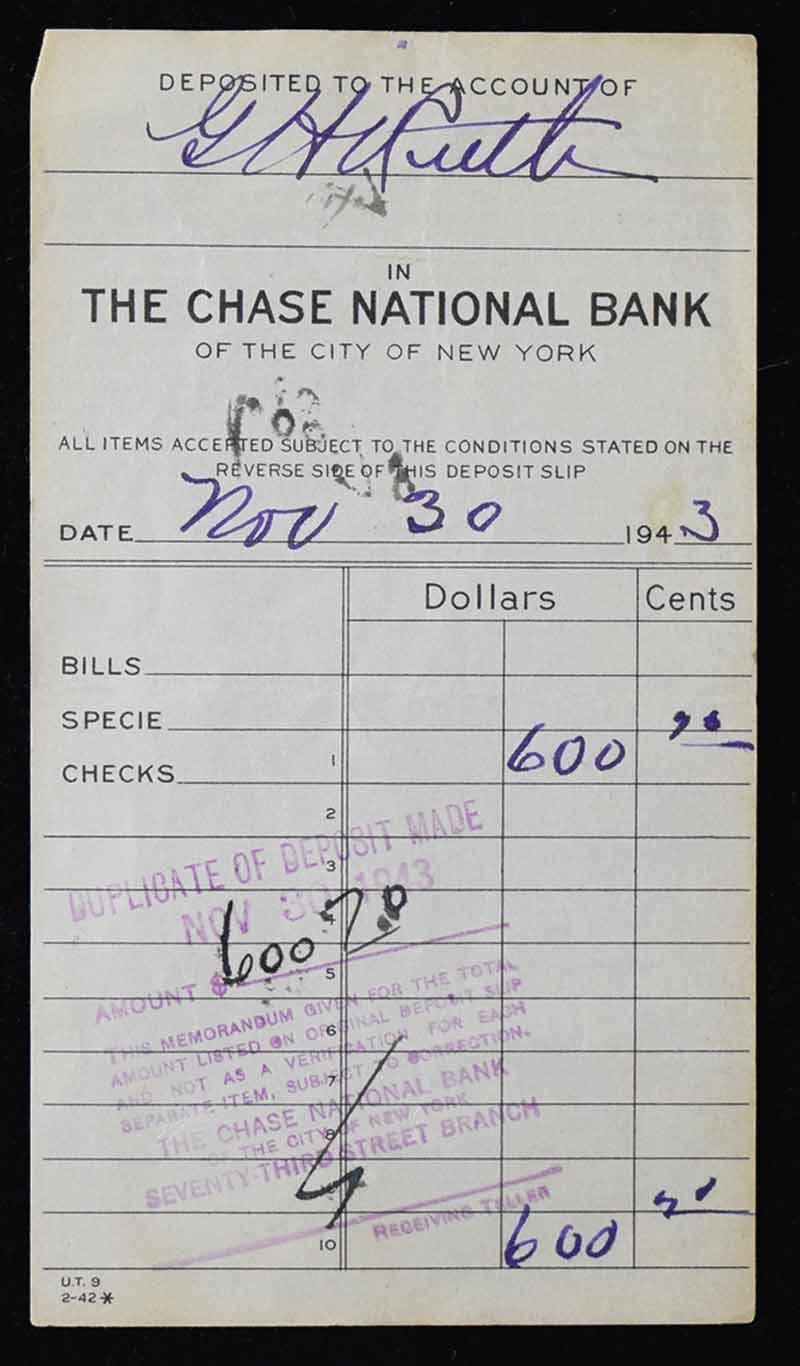 Lot Detail - Babe Ruth Signed 1943 Chase Bank Deposit Slip w
