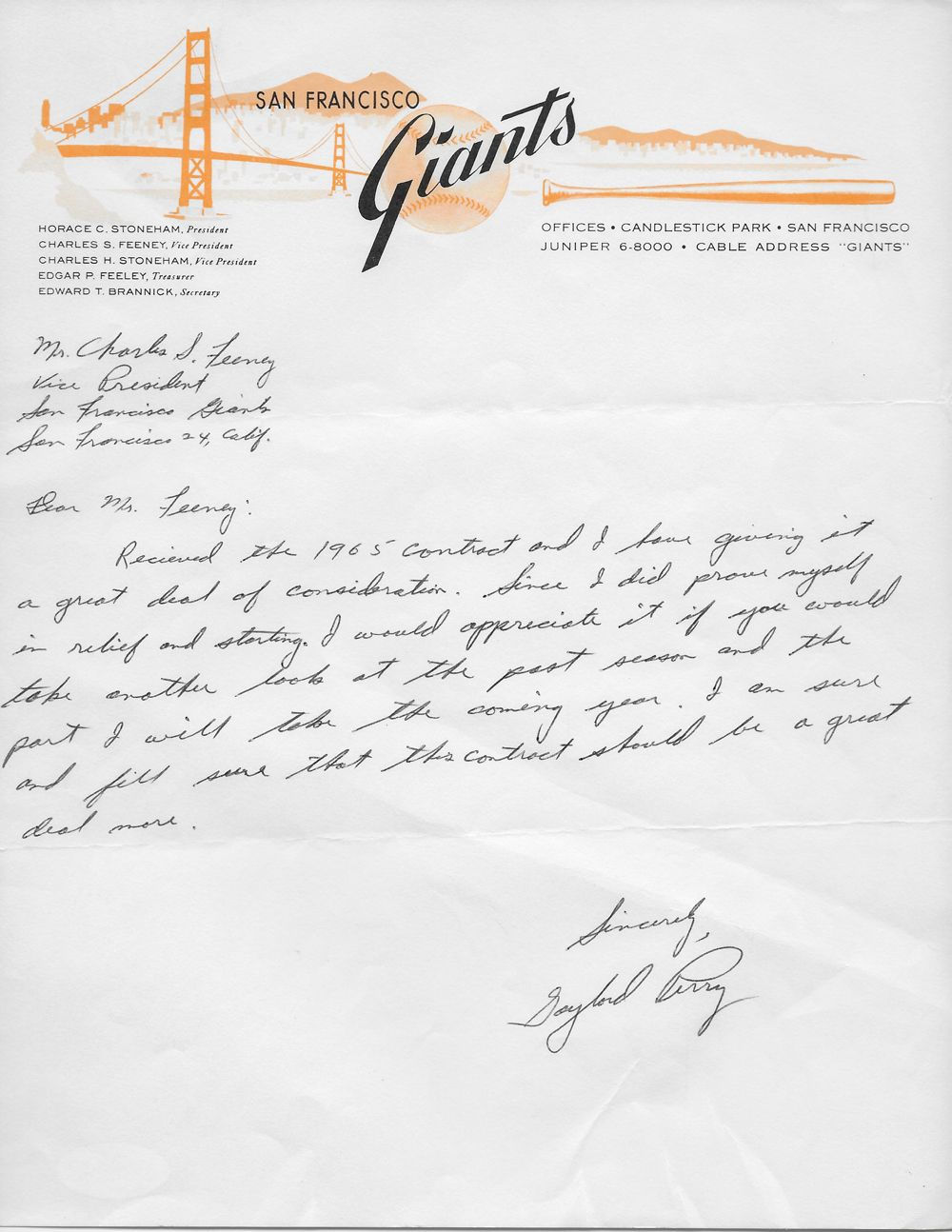 lot detail san francisco giants rare s document archive w san francisco giants rare 1960s document archive w terrific salary negotiation letters from perry