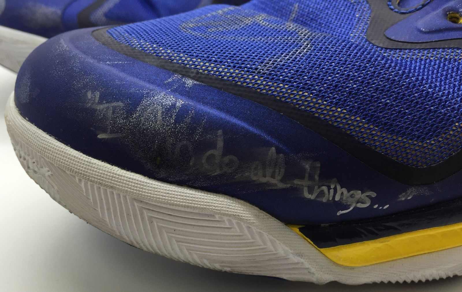 5e0308f6a22 ... 2015 NBA Champion   MVP Steph Curry Game Used   Signed 2013 Sneakers w   Photo ...