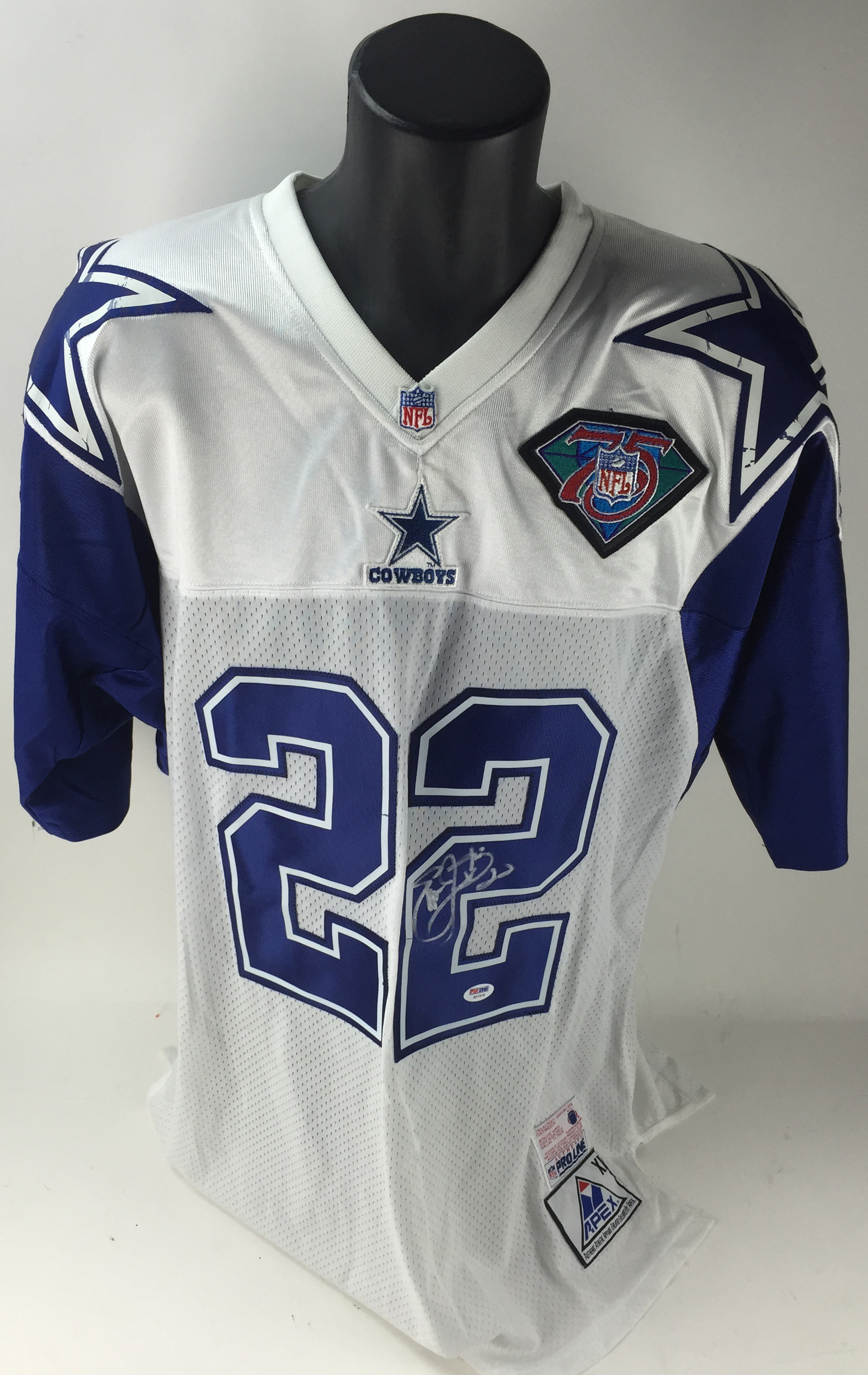 cb93f5d84 Emmitt Smith Rare Signed NFL 75th Anniversary Official APEX Cowboys Jersey  (PSA/DNA) ...