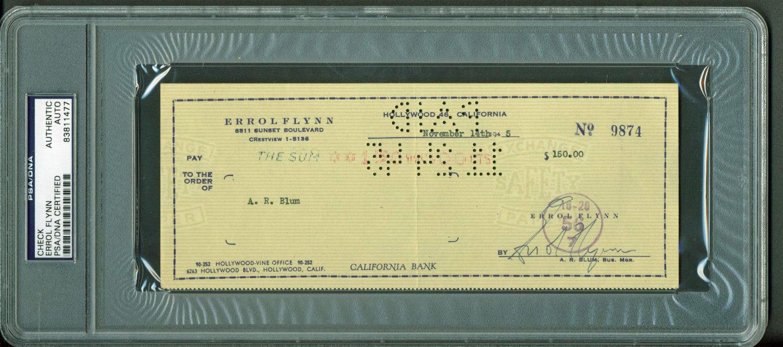 lot detail erroll flynn signed personal bank check 1946 psa dna encapsulated. Black Bedroom Furniture Sets. Home Design Ideas
