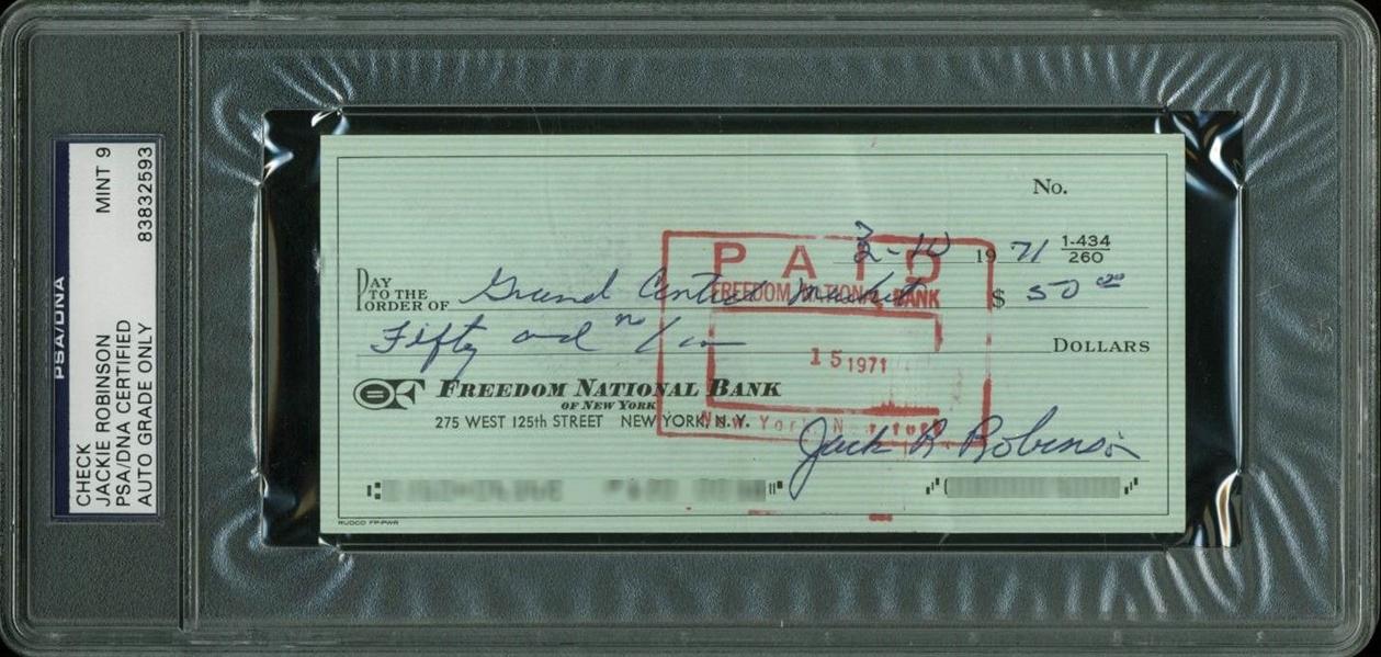lot detail jackie robinson signed 1971 bank check psa dna graded mint 9. Black Bedroom Furniture Sets. Home Design Ideas