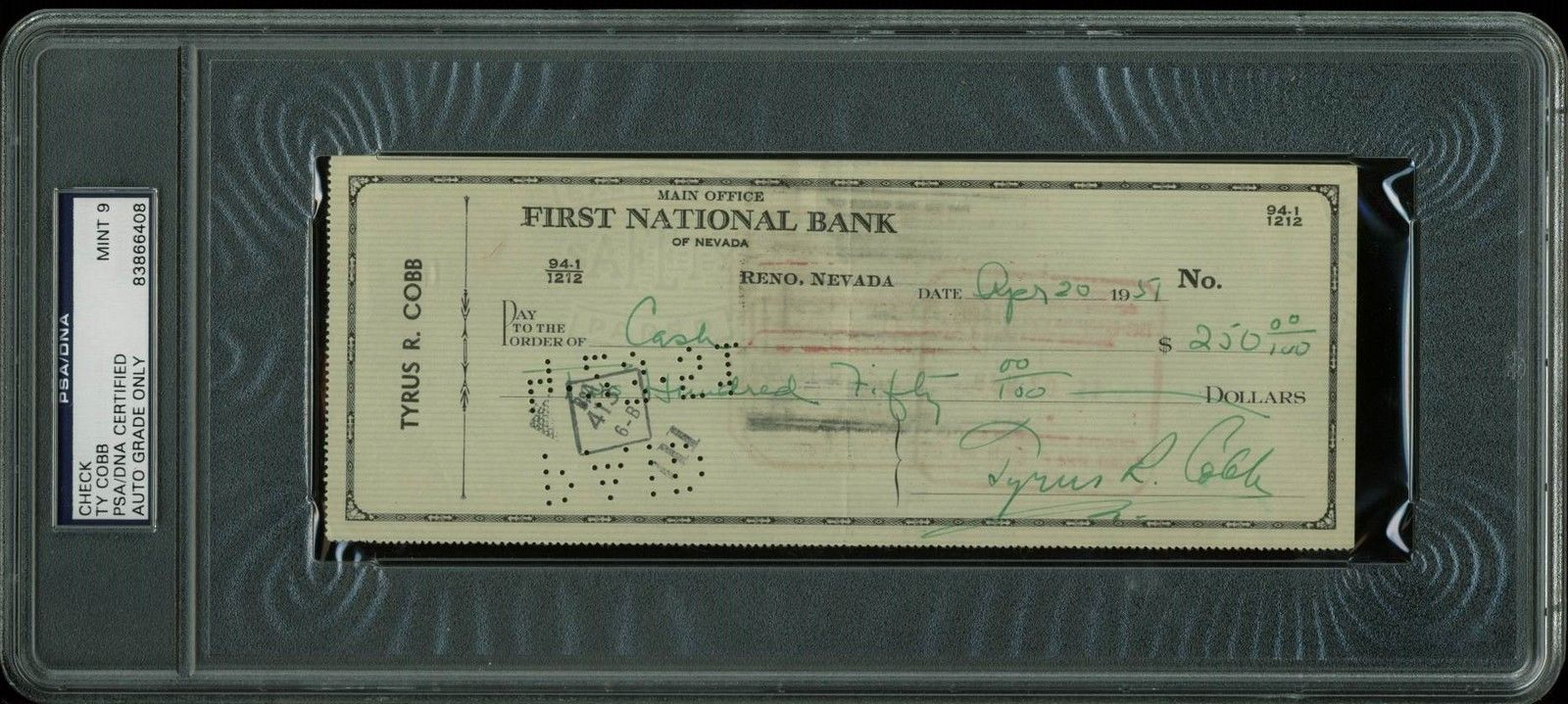 lot detail ty cobb signed hand written 1951 bank check psa dna graded mint 9. Black Bedroom Furniture Sets. Home Design Ideas