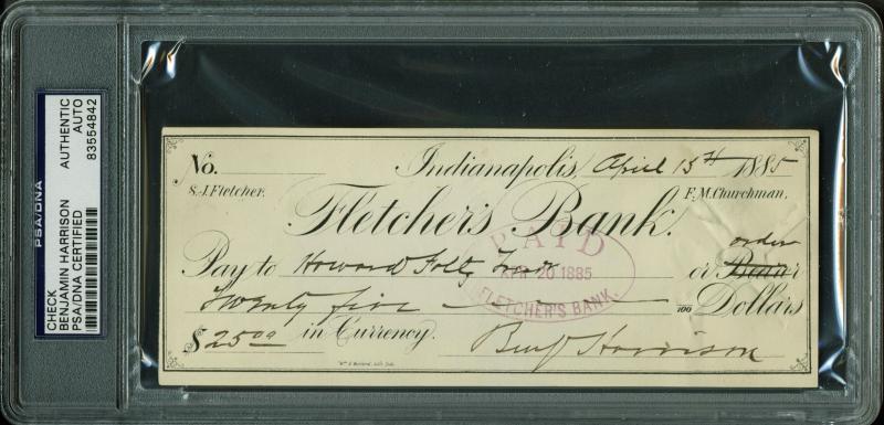 lot detail president benjamin harrison handwritten signed bank check psa dna encapsulated. Black Bedroom Furniture Sets. Home Design Ideas
