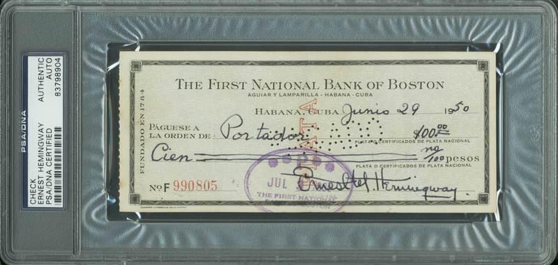 lot detail ernest hemingway signed 1950 bank check psa dna encapsulated. Black Bedroom Furniture Sets. Home Design Ideas