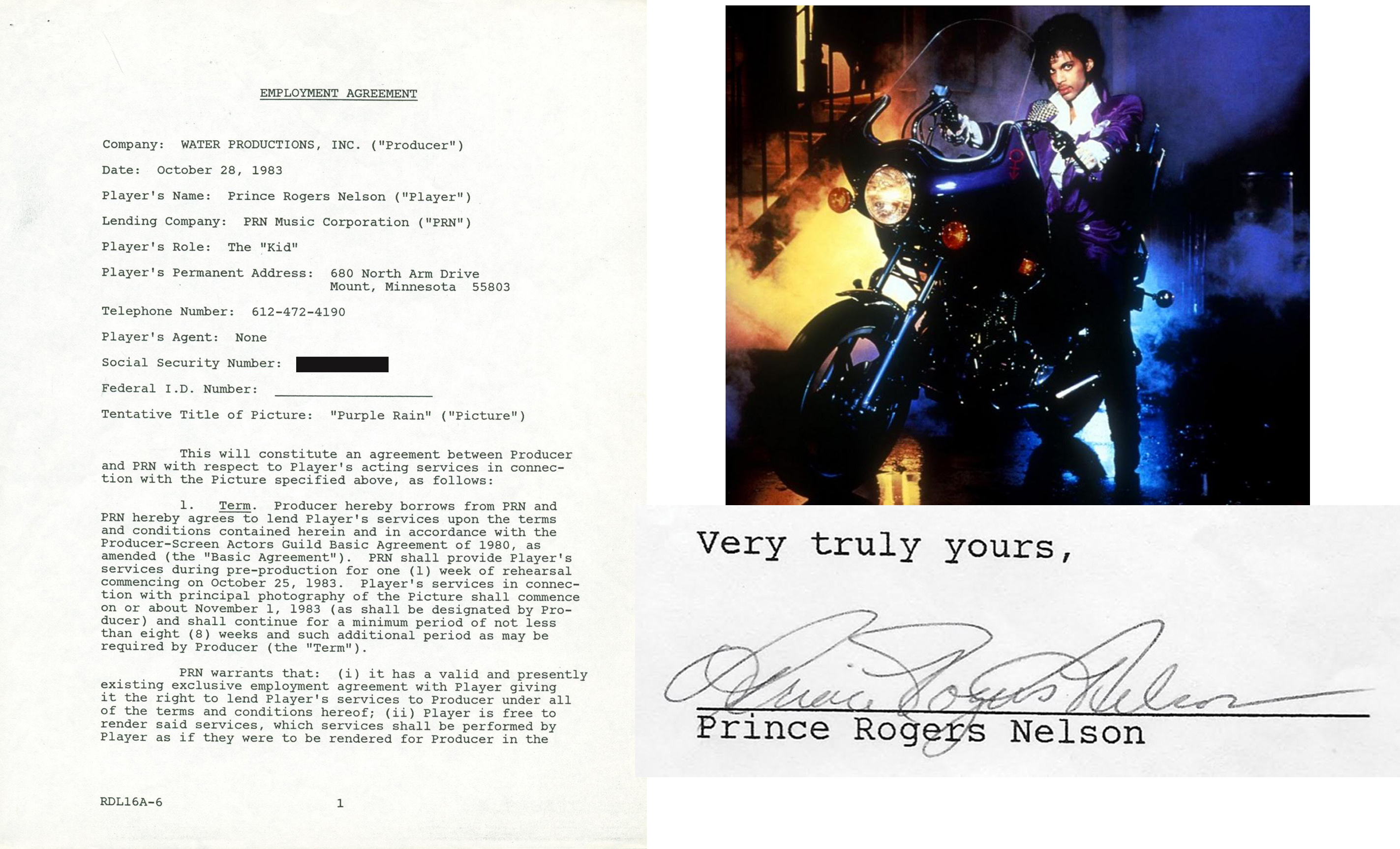 Lot detail prince prince signed 1983 production contract for the prince prince signed 1983 production contract for the legendary purple rain movie psa platinumwayz