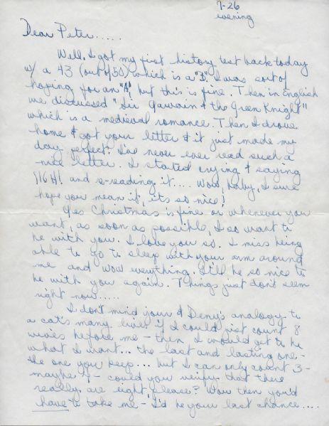 Janis Joplin Handwritten Signed 4 Page Love Letter To 1st Boyfriend