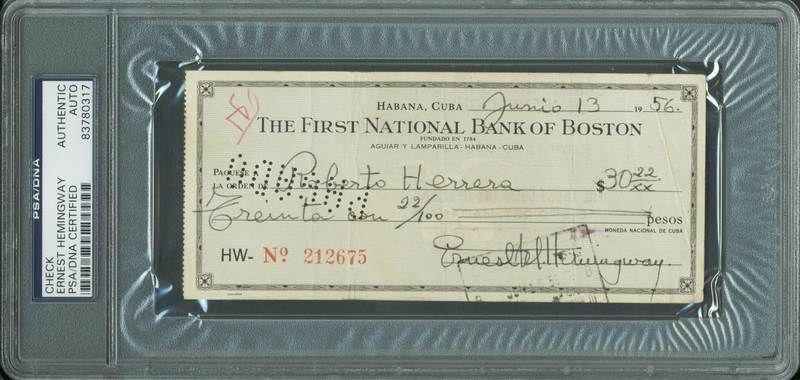 lot detail ernest hemingway signed bank check 1956 psa dna encapsulated. Black Bedroom Furniture Sets. Home Design Ideas