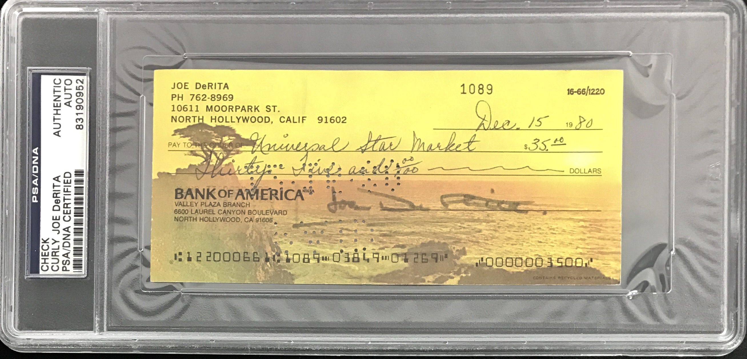 lot detail the three stooges curly joe derita signed bank check psa dna encapsulated. Black Bedroom Furniture Sets. Home Design Ideas