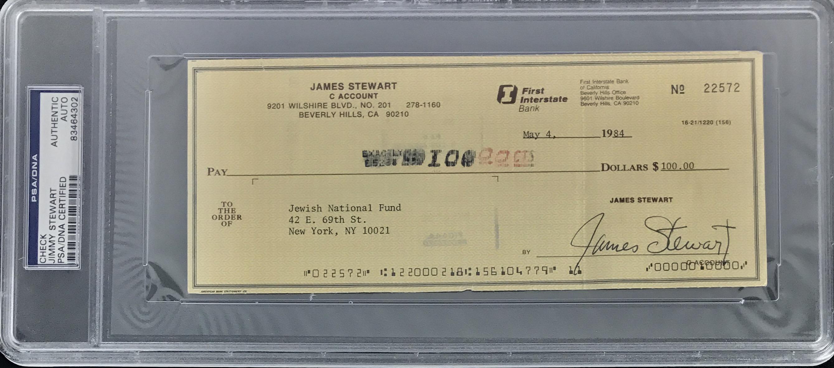 lot detail jimmy stewart signed busines bank check psa dna encapsulated. Black Bedroom Furniture Sets. Home Design Ideas
